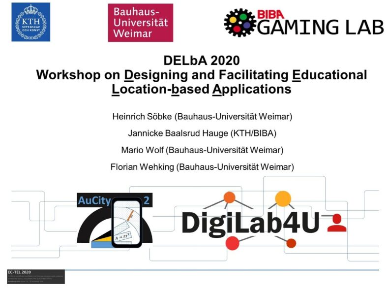 DELbA 2020 – Joint workshop of AuCity2 and DigiLab4U at the EC-TEL